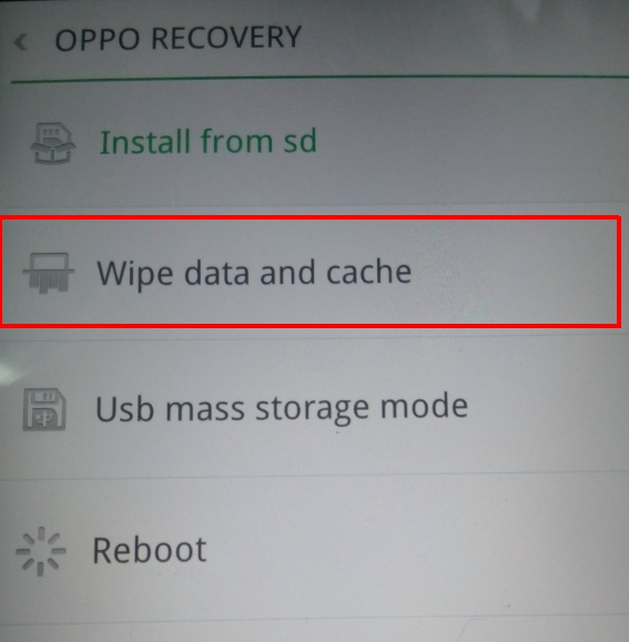 oppo recovery wipe data